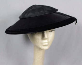 SALE (was 165.00 now 125.00) 1940'sWide Brim Velvet Hat with Rhinestone Dangles