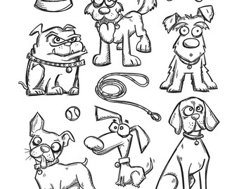 Tim Holtz CRAZY DOGS Cling Stamp set STAMPERs ANONYMOUS CMS271 cc11