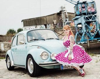 Custom Made & Handmade - 50s petticoat dress pink/white item: 3701