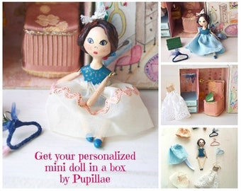 Mini art doll dollhouse box, handpainted diorama case with personalized handmade marionette character, doll wardrobe story box book inspired