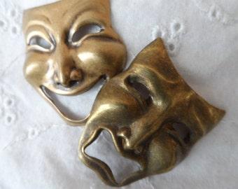 "Large vintage gold comedy tragedy masks,1&1/4"",KC526-2pcs"