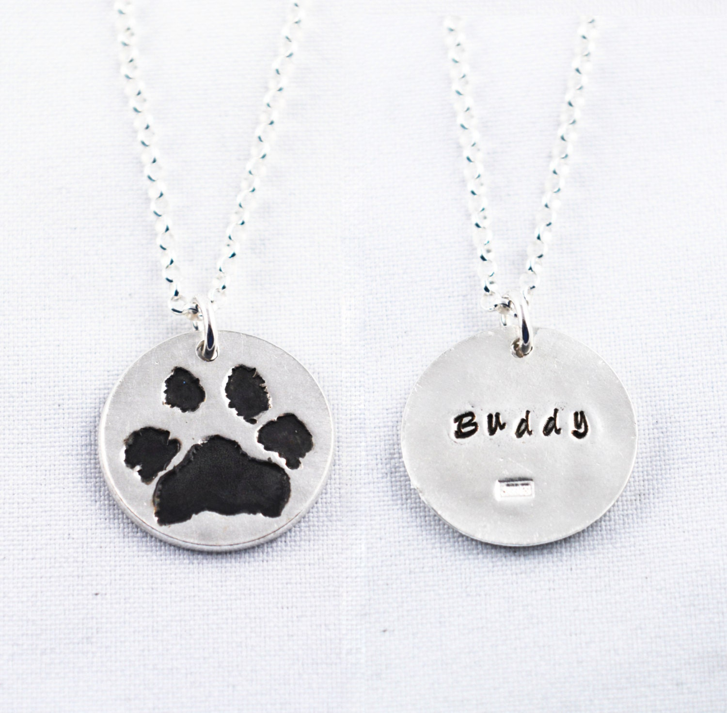 Silver Cat Or Dog Paw Print On A Custom Pendant Necklace