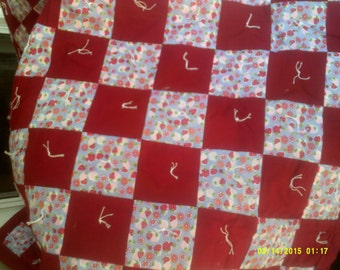 Vintage Cotton Patchwork Throw, Tied Patchwork Throw, Red Patchwork Throw, Patchwork Couch Throw, Strawberries Throw, Chair Throw