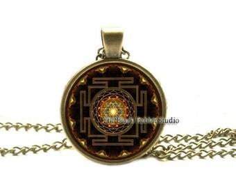 Sri yantra mandala necklace, buddhist sacred geometry jewelry, sri yantra pendant, Spiritual Yoga Jewelry gift