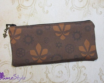 Zipper Pouch - Steampunk Flur in Browns