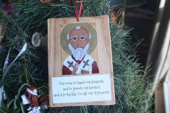 Ready to Ship Saint Nicholas Icon on Wood Ornament