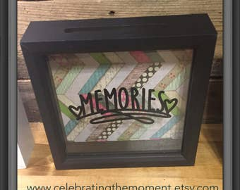 MEMORIES, Memory Keepsake Box, Ticket Stubs, 8x8, Shadow Box, Ticket Holder Box, Admit One, Girlfriend Gift, Wife Gift