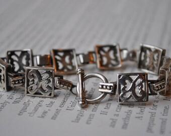 Vintage Sterling Bracelet - Heavy Silver Link Bracelet Signed Sezgin