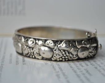 Vintage 835 Silver Bangle - 1985 Very Detailed Fruit, Silver Bracelet