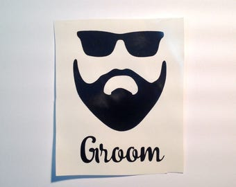 DIY Personalized Beard Sunglasses Cool Dude Beer Glass Vinyl Decals/Stickers Make Your Own Wedding Tumblers