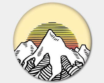 Mountain Magnet or Button. Hiking. Nature. Healthy. Beauty. Natural Beauty. Landscape.