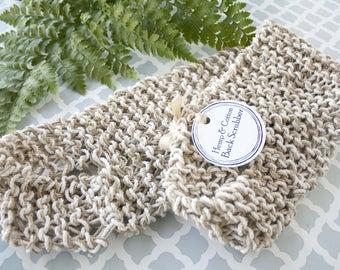 Hemp & Cotton back scrubber - crochet, natural, handmade, large, exfoliating, handle, washcloth, home spa, christmas gift for grandma