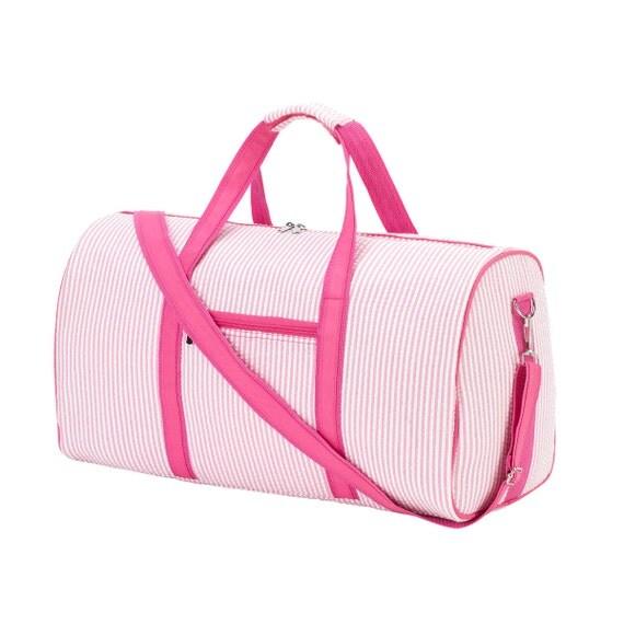 Pink seersucker embroidered  Duffel bag luggage overnight bag monogram bag girls sleepover luggage  bag Duffel bag