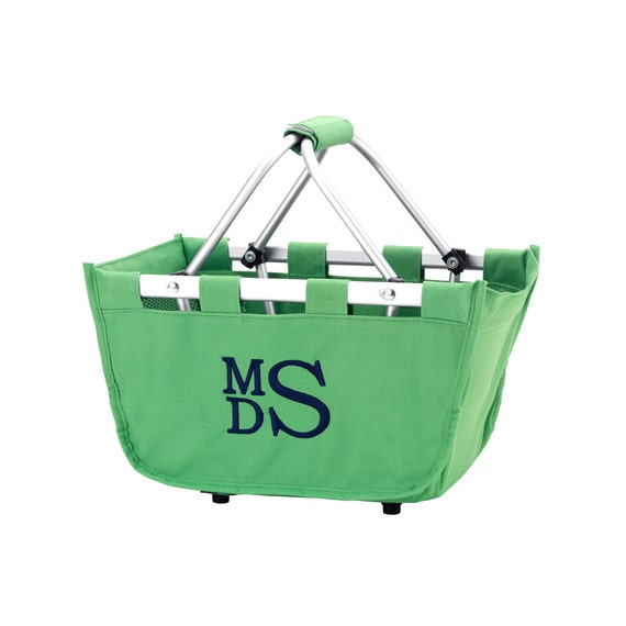 Kelly mini Market tote picnic basket tote monogram basket tote personalized tote bag tailgate tote bag college dorm shower caddy basket