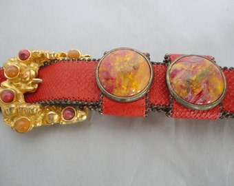 Vintage Leather Belt With Faux Stones