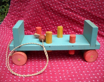 Vintage Wooden Workbench Pulltoy with Pegs and Original Cord