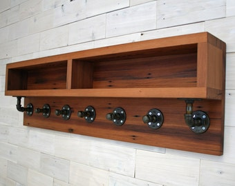 The Arcadian Coat Rack with Shelving made from Reclaimed Redwood