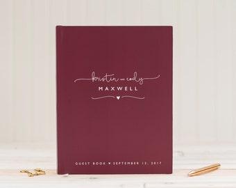 Wedding Guest Book Wedding Guestbook Wine Burgundy Guestbook Personalized wedding book custom wedding gift keepsake wedding sign in book