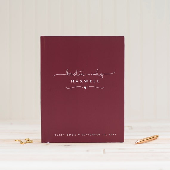 Wedding Guest Book Wedding Guestbook Wine Burgundy Guestbook Personalized wedding album custom wedding gift keepsake wedding sign in book