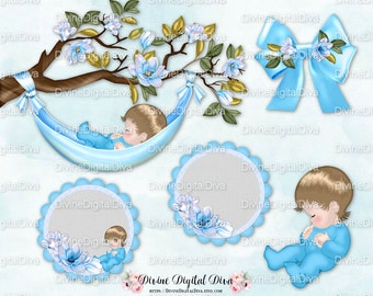 Sleeping Baby Magnolia Tree Branch Boy | Hammock Bow Circles Baby | LightBlue | Clipart Instant Download