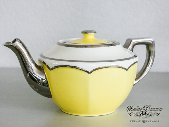 Vintage Teapot- Silver, Yellow,and White Porcelain -English French Country Shabby Chic Farmhouse