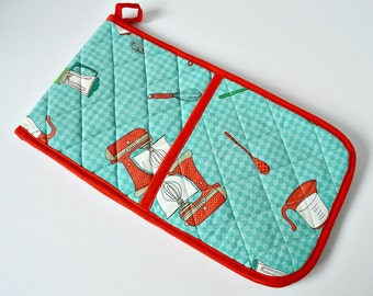 Oven Gloves - Quilted - Kitchen Gadgets - Green Checks