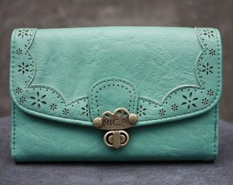 Vintage NICA Light Blue Faux Leather Wallet, Clutch