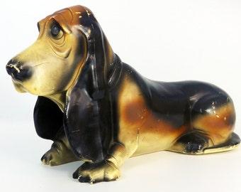 Vintage Basset Hound Dog Axelrod Bank Mid Century Kitsch Advertising Coin Bank - Sad Eyed Dog - Flying A Gasoline Ad Giveaway 1950s Plastic