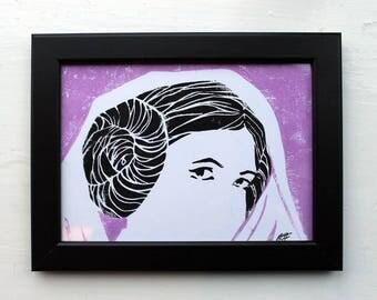 Princess Leia Hand Printed Lino Print