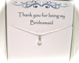 Bridesmaid Sterling Silver Freshwater Pearl Necklace