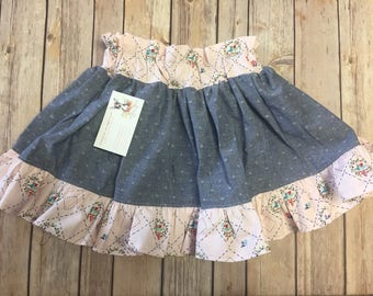 Mae Petti Skirt Size 5, Ruffled, Farm Girl Vintage Print, Blue Denim