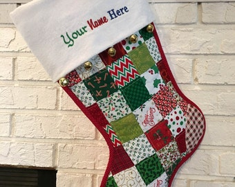 Red & Green Quilted Christmas Stocking, Cottton Patchwork, Large Size, Fully Lined,  Flannel Cuff and Jingle Bells, Personalized Free