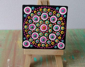 ORIGINAL / Abstract Wall Art Painting / Modern Art / Mini Canvas / DOT ART / Mandala
