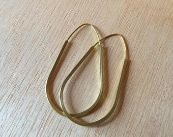 Handmade Brass Earring  2 inch Teardrop Cubed Hoop Minimalist Modern Design