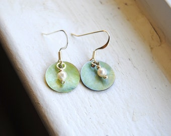 Green Shell and Pearl Earrings