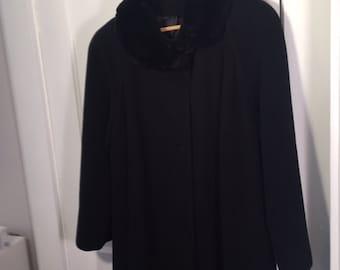 Vintage Cashmere Blend Fur Collar Coat