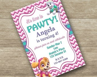 Paw Patrol birthday digital invitation - Paw Patrol birthday invitation - optional thank you card