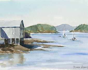 EASTPORT, Maine giclée. Sailboats in peaceful Downeast harbor. Fine art prints of watercolor by Maine artist Diana Hertz.