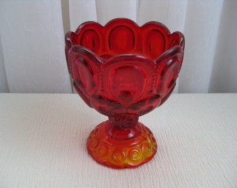 Vintage Mid Century Moon and Star Red Amberina Manganese Glass Compote Dish LE Smith