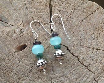 Amazonite, Emerald, Garnet, Bali Silver, Sterling Silver, Green Gemstone, Drop Earrings, Dangle Earrings, May Birthstone, Gift for Her.