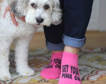 Pink Ribbon Breast Cancer Awareness No Show socks - Socks for Breast Cancer Awareness Walks and Runs - Sold by the Pair