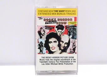 Rocky Horror Picture Show Cassette Tape Vintage Original Soundtrack 1975 / 1989 Reissue with Time Warp Remix and Extended Mix Bonus Tracks