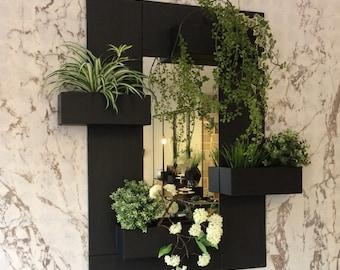 Mirror/planters in slate, indoor/outdoor. Create your own decor