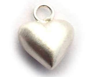 6mm puff heart sand brushed sterling silver , sterling silver small puffy heart charm.