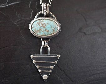 Turquoise Sterling Arrowhead Necklace , Natural Kingman Pendant , Urban Tribal Jewelry
