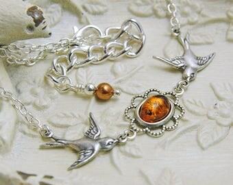 Amber Necklace, Bird Necklace, Baltic Amber Necklace, Swallow Necklace, Bird by Bird, Bird Pendant, Silver Bird, Facing Birds N639