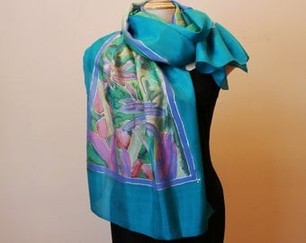 Painted silk shawl with bright flowers