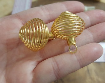 Wire Cage for crystals ~ 1 gold memory wire cage approximately 1 X 1 inch