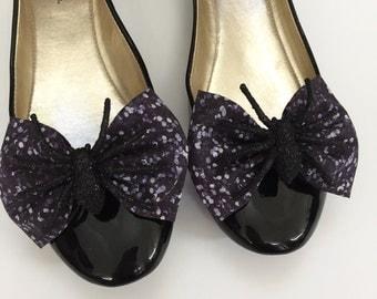 Black Glitter Spider Shoe Bows, Halloween, Glitter, Shoe Accessories