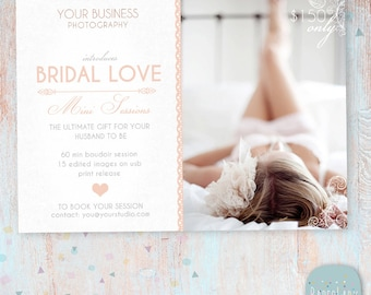 Valentine Bridal Boudoir Marketing Board -  Mini Sessions - Photoshop template - IL002 - INSTANT DOWNLOAD